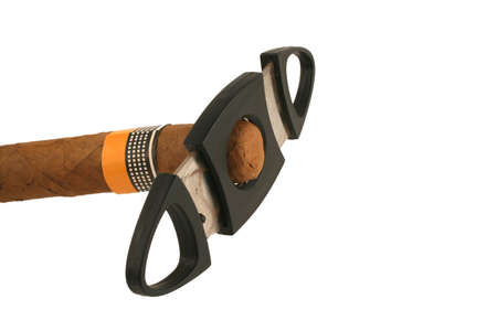 cutter: A Isolated cigar with cutter on white