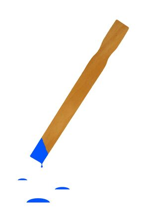 stirrer: A Isolated paint stirrer stick with blue paint