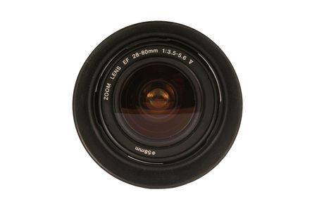 A 28-80mm Dslr Camera lens on white