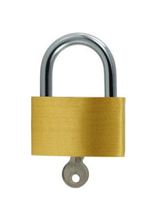 A Isolated Brass lock and key on white Imagens