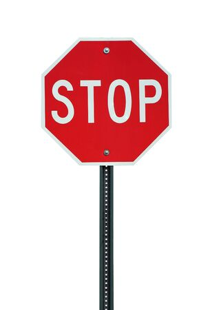 A Isolated stop sign on white background Stock Photo