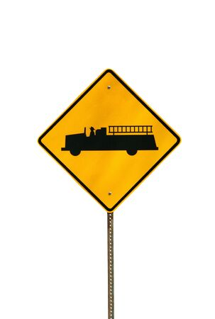 A Isolated fire truck sign on white background photo