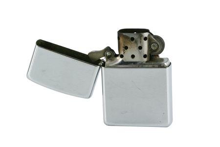 gas lighter: Isolated Open ciggarette metal lighter on white Stock Photo