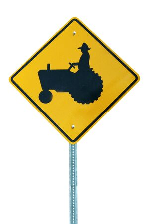 tractor sign: Isolated Tractor Sign on white background Stock Photo