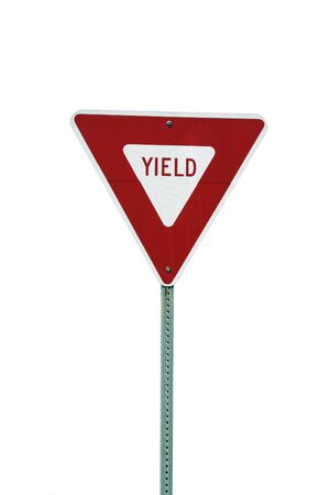 yield: A Isolated yield sign on white background
