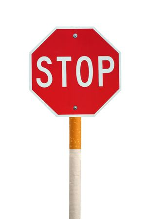 Stop smoking stop sign and cigarette concept photo