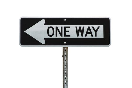 A Isolated one way sign on white background photo