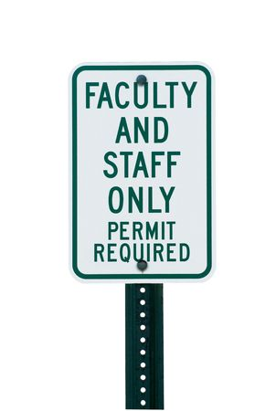 School faculty parking sign on white Archivio Fotografico