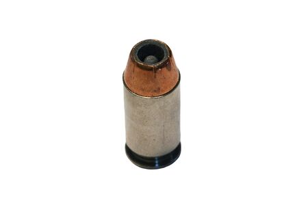45 ammo: A Isolated .45 caliber bullet on white