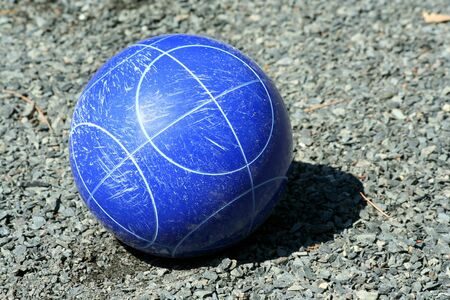 A Close up of a blue bocce ball