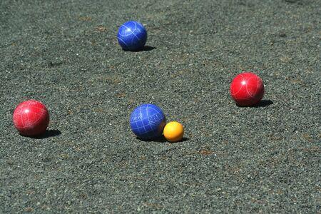 bocce ball: Blue bocce ball scores Stock Photo