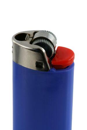 gas lighter: Isolated blue cigarette lighter Stock Photo