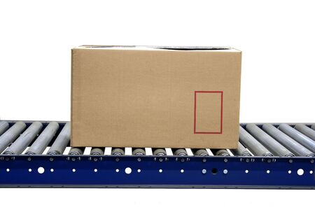 handling: A Isolated carton on conveyor rollers