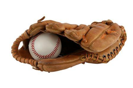 guante beisbol: Un guante de b�isbol aislados con bal�n