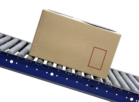 working belt: Isolated Carton on conveyor rollers on white background Stock Photo