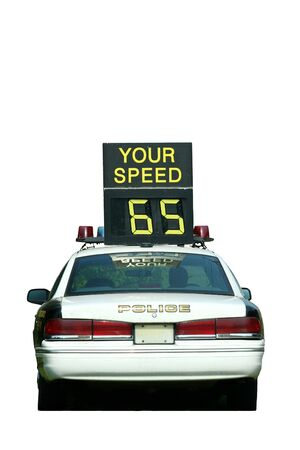 Isolated Police Car Speed Check on white background Stock Photo - 3393800