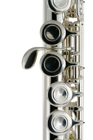 flute key: A Isolated metal flute on white