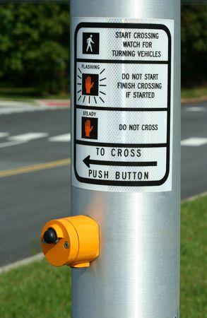 cross walk: Cross walk button at a intersection Stock Photo