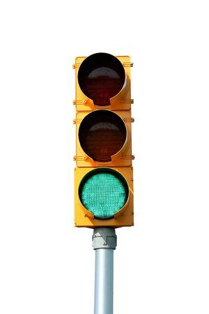 traffic signal: Isol� feu vert de la lumi�re sur blanc