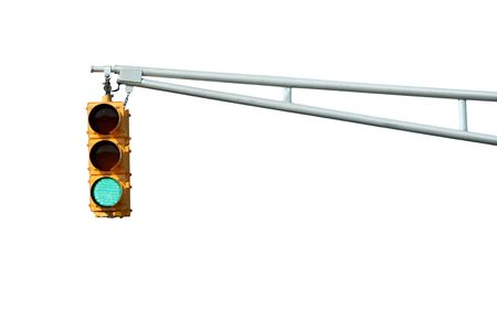 Isolated Green traffic signal light on white Stock Photo - 3726490
