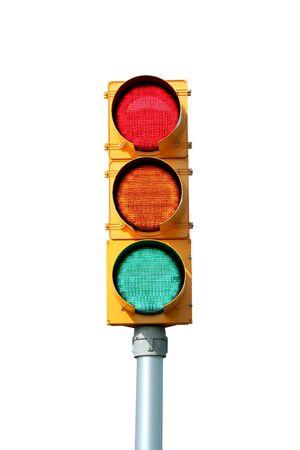 Geïsoleerde verkeer signaal licht op wit