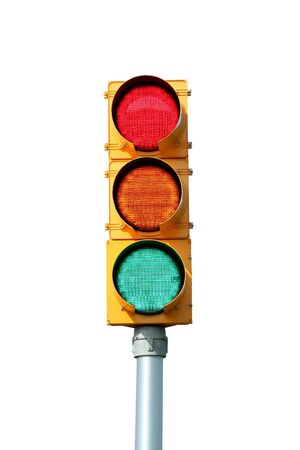 stop light: Isolated Traffic signal light on white