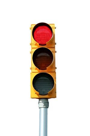 traffic signal: Isol� trafic signal lumineux rouge sur blanc Banque d'images