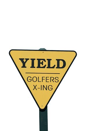 yield: A Isolated Yield golfer crossing sign