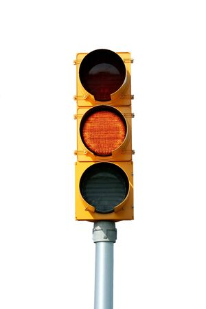 Isolated yellow traffic signal light on white Stock Photo - 3773106