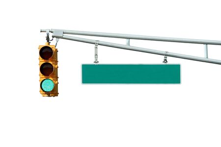 Isolated Green traffic signal light with sign on white Stock Photo