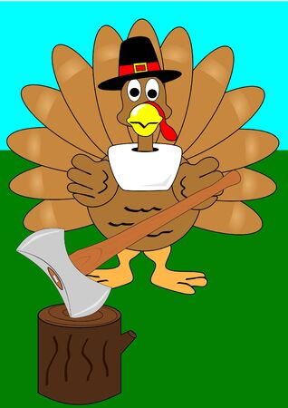A Turkey with axe and stump