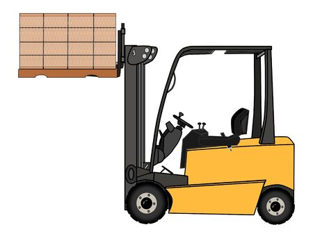 A Isolated yellow forklift illustration illustration