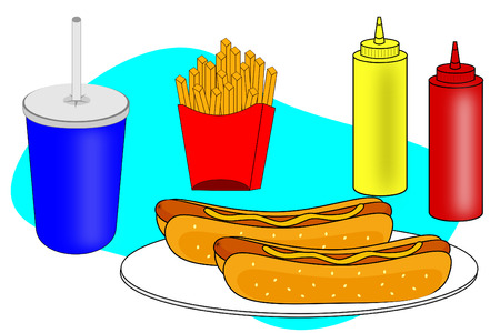 A Hotdog dinner scene with fries and soft drink