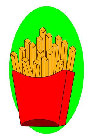 Alcune patatine fritte in un riquadro rosso Archivio Fotografico - 3938557