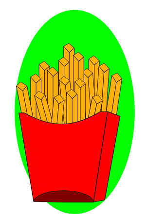 Some French fries in a red box