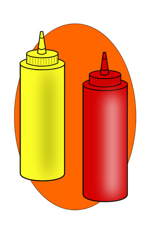 squeeze: Two Ketchup and mustard squeeze bottles