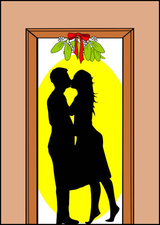 moulding: A Man and woman kissing under mistletoe Illustration