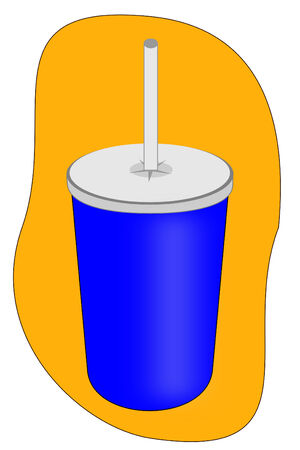 A Isolated soft drink cup with straw