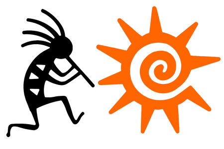 native american art: Black Kokopelli and orange sun
