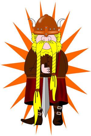 Een Viking met helm en zwaard