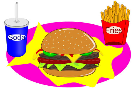 cheese burger: A Cheese burger with lettuce and pickles Illustration