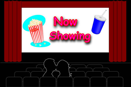 theater man: Man and a woman kissing in an empty movie theater