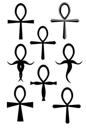 A Tribal ankh tattoo collection on white