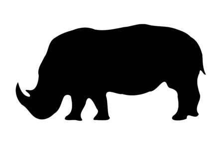 A Isolated Rhinoceros silhouette on white