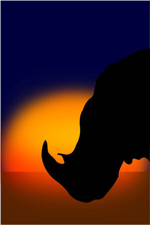 A Rhinoceros silhouette at sunset Иллюстрация