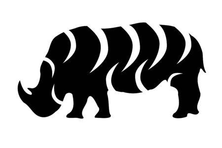 Een neushoorn tribal tattoo silhouet