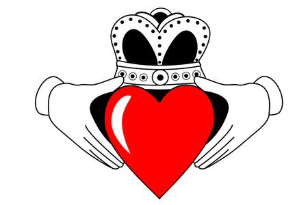 Claddagh tribal tattoo with red heart