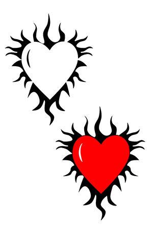 Een vlammend hart tribal tattoo