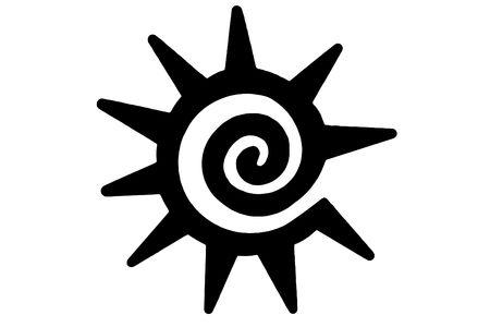 Isolated Tribal sun on white photo