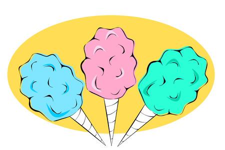 cotton candy: Dulces de algod�n en color rosa azul y verde